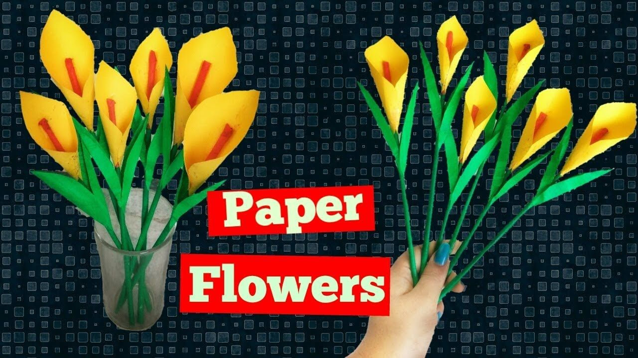 How To Make Calla Lily Paper Flower Easy Origami Flowers For Beginners Easy Origami Flower How To Make Paper Flowers Paper Flowers
