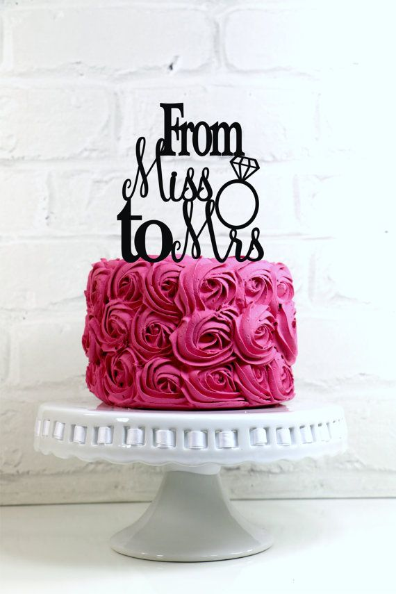From Miss To Mrs Wedding Cake Topper Or Sign With Diamond