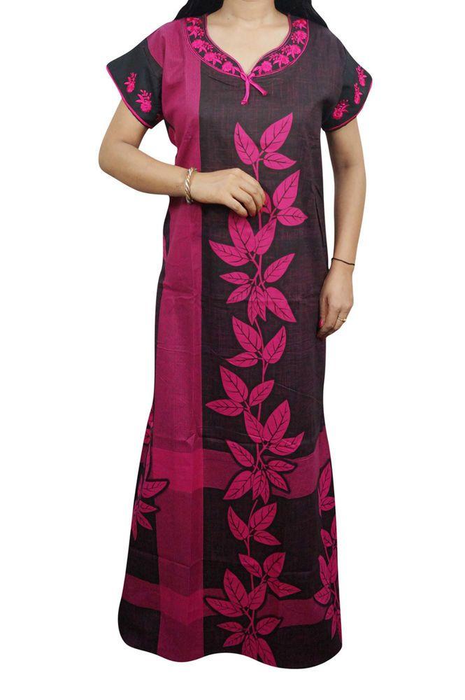 ea1595212d Indiatrendzs Women s Maxi Nighty Cotton Printed Sleepwear Summer Night Gown  46