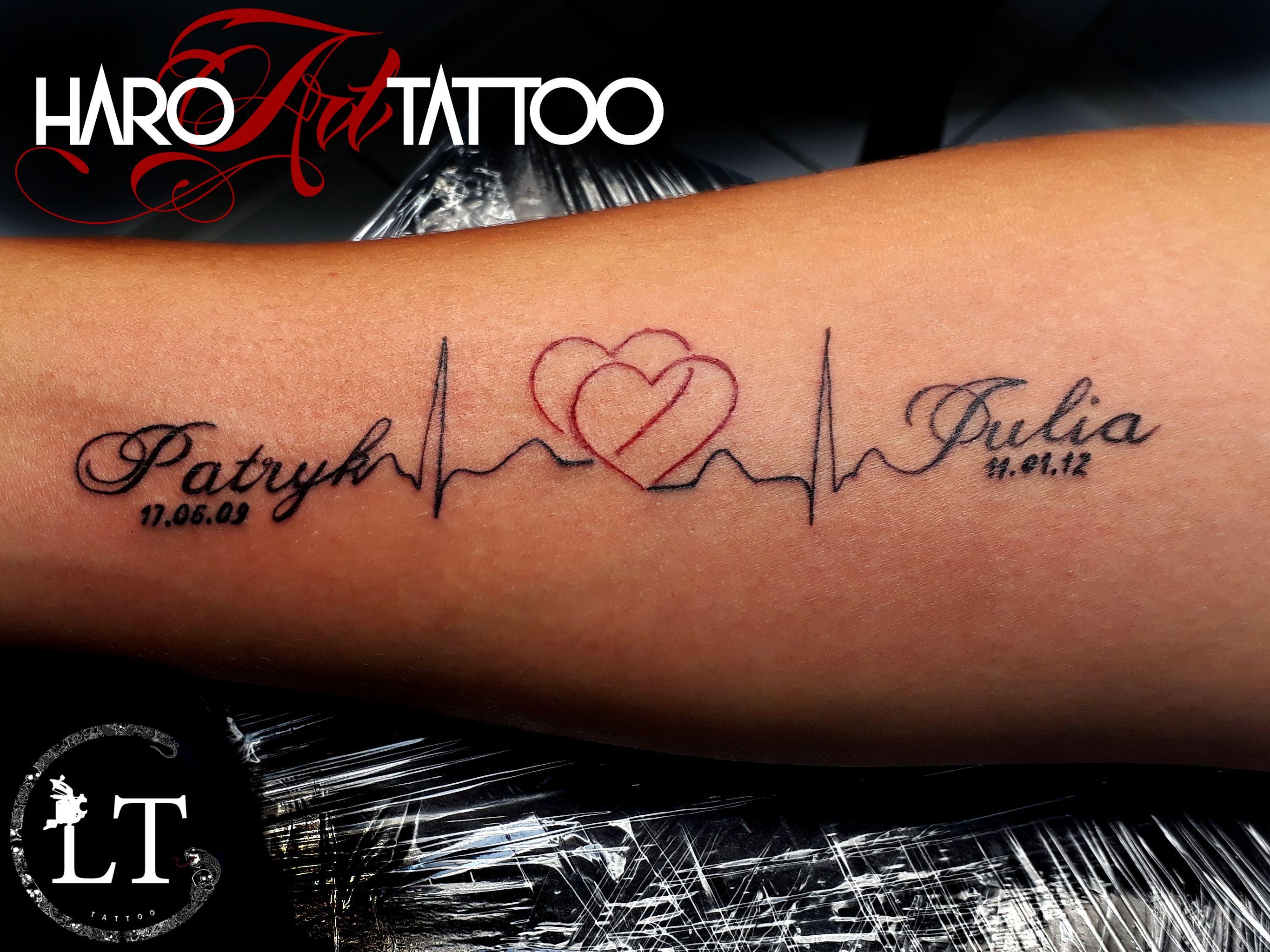 Tattoo Initials Mn: Heartbeat Tattoo With Kids Names