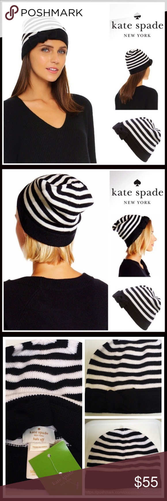 3ac3fc4f9d170 KATE SPADE STRIPE BOW BEANIE HAT KATE SPADE SIGNATURE STRIPED WHITE BLACK  BOW BEANIE NEW WITH TAGS DETAILS   Super soft striped knit construction    Rib trim ...