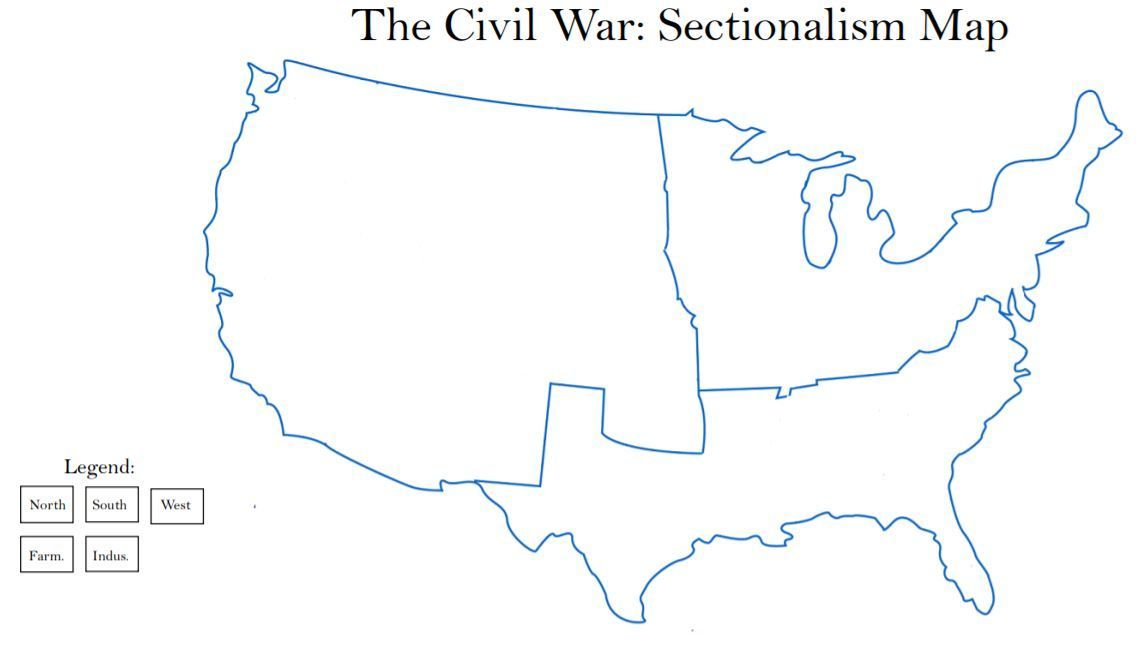 Civil War Mapping Sectionalism Civil War Activities Map