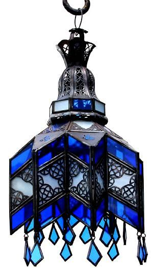 moroccan blue glass ceiling chandelier