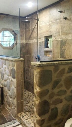 Rustic Country Stone Shower With Granite Glass Pebble