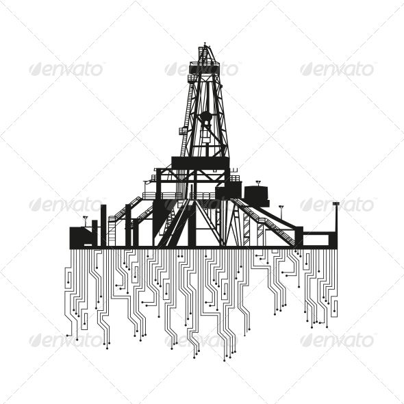 Oil Rig Silhouette  #GraphicRiver         Oil rig silhouettes on white…