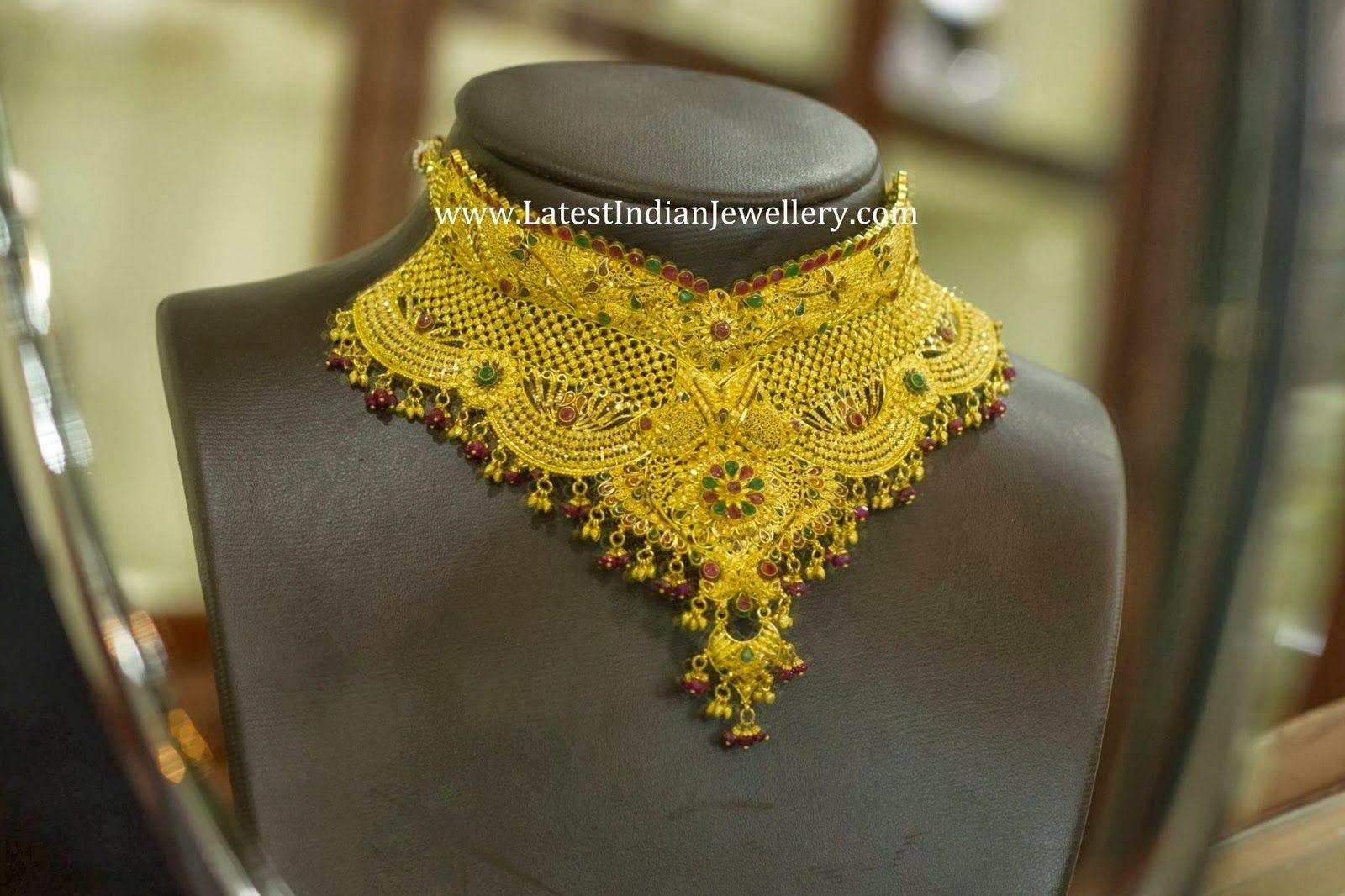 Indian Gold Bridal Choker Necklace | Choker necklaces