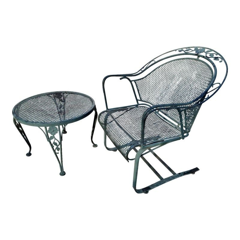 Russell Woodard Wrought Iron Bouncy Chair Side Table Chair
