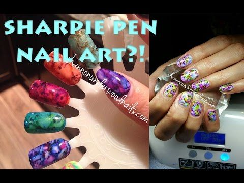 Marble Or Granite Nails Nail Art Using Gel Polish And Sharpie Pens Tutorial You