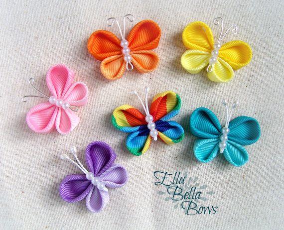 Kanzashi Butterfly Ribbon Sculpture Hair Clip Bug Hair Bow Lazos De Flores Para El Pelo Escultura Con Cinta Tutorial De Flores De Fieltro