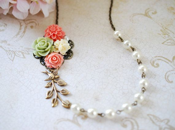 Flower Leaf Bird Pearl Collage Necklace. Orange Pink by LeChaim