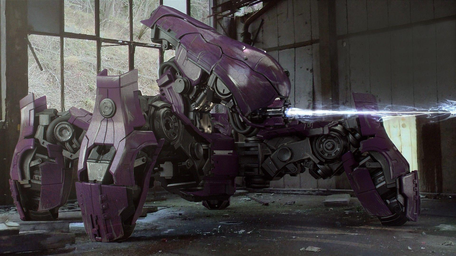 Military Robots Purple Laser Halo War Machine Fallen Wars 1920x1080 Wallpaper
