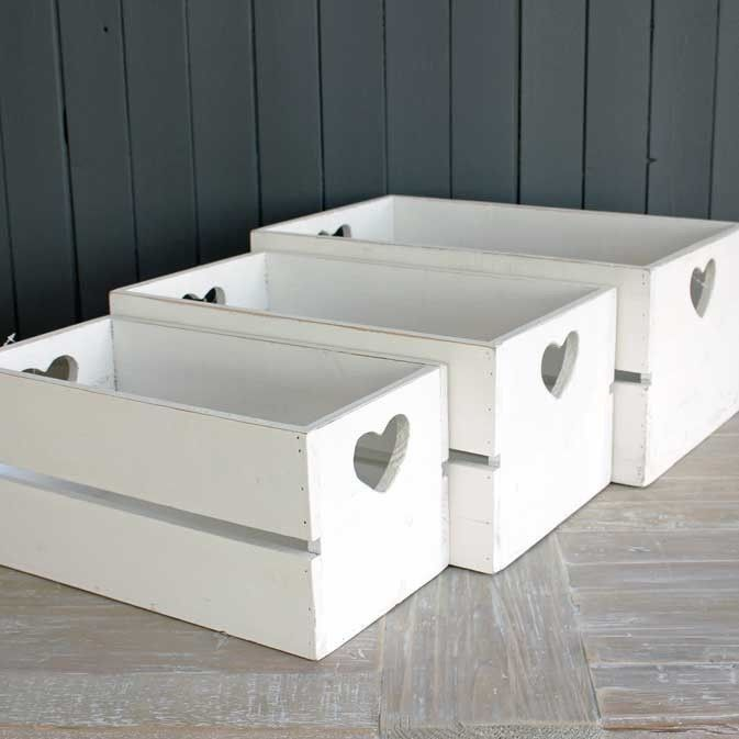 Wood Crates Painted White With Small Detail Heart Wooden Crates