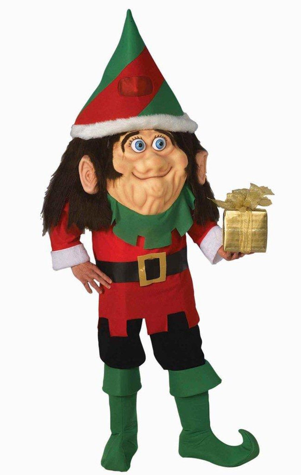 d7eee5ef8b34 Parade Pleaser - Santa s Elf Adult Costume -Includes  Oversized hat with  see-through eye mesh (in the middle of the hat)