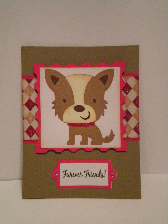 Dog Blank Note Card Furever Friends!  red kraft glitter argyle by DAWNSCRAFTCOTTAGE on Etsy