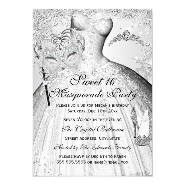 Pretty Silver Princess Masquerade Sweet 16 Invite | Zazzle.com