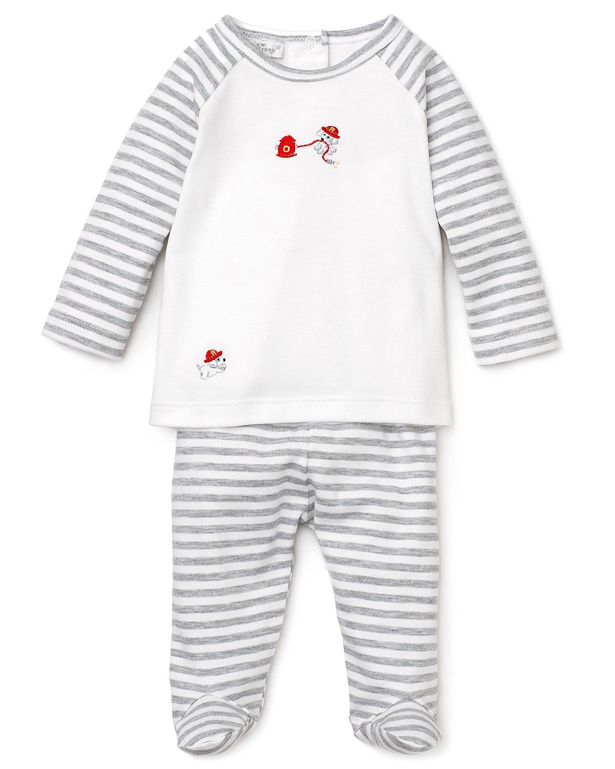 4d857ae6f391 Kissy Kissy Infant Boys  Striped Firefighter Dog Footed Pant Set - Sizes  0-9 Months