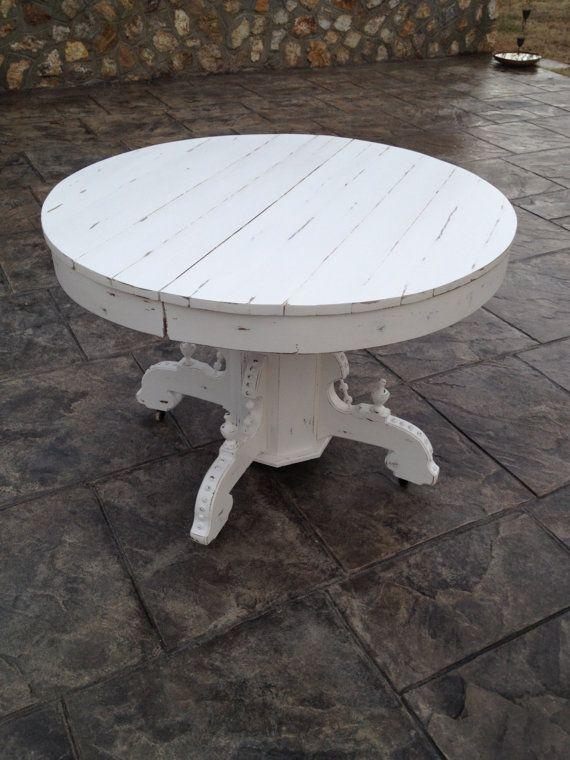 Vintage Solid Oak Round White Pedestal Table Distressed