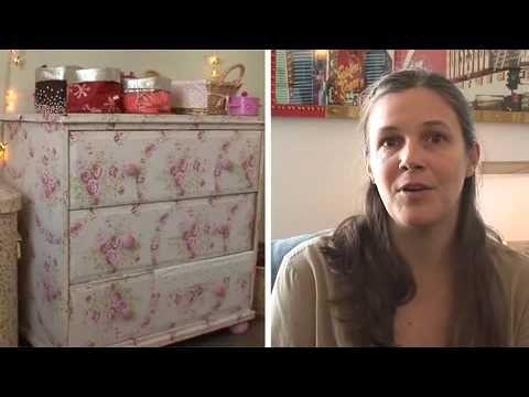 Comment d corer un vieux meuble avec du papier peint decoupage decopatch meuble relooking - Decorer un meuble ...