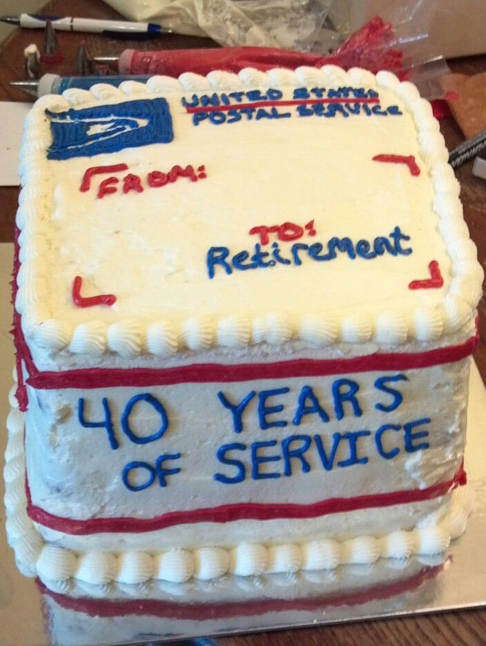 Dad S Retirement Cake 40 Years At The Post Office With Images