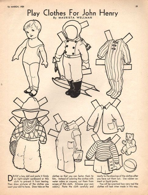 1939 Play Clothes For John Henry Paper Doll Boy Children S