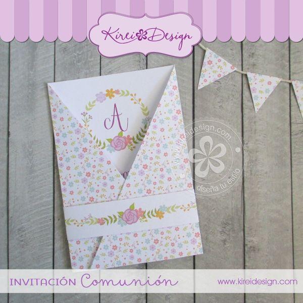 Invitaci n comuni n mod saori comunion pinterest - Como hacer tarjetas para comunion ...