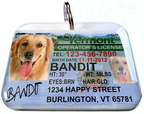 Cute pet ID tags that look like drivers' licenses. Pet