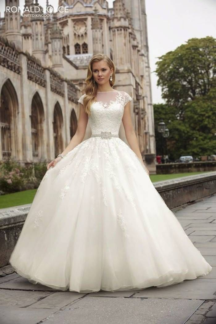 Modest wedding dresses with pretty details ronald joyce for Pretty ball gown wedding dresses