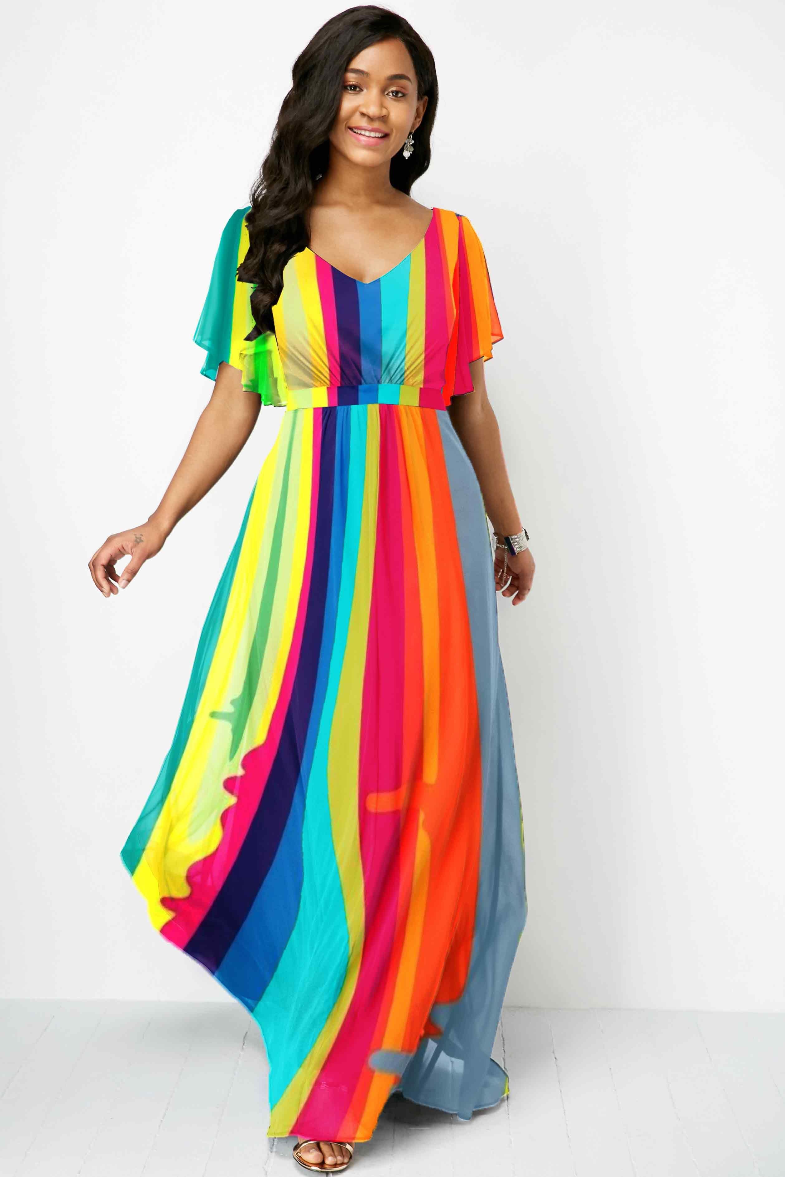 V Neck Multi Color Rainbow Striped Maxi Dress Ad Color Multi Neck Striped Maxi Dresses Maxi Dress Dress Stores Online [ 3778 x 2519 Pixel ]