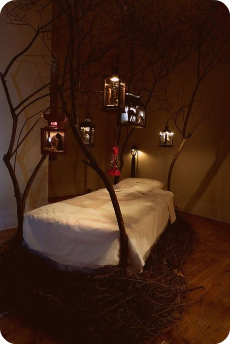 woodland fairy tale bed.... Can I be a kid again so I can have this? Or do they make it big enough for two?