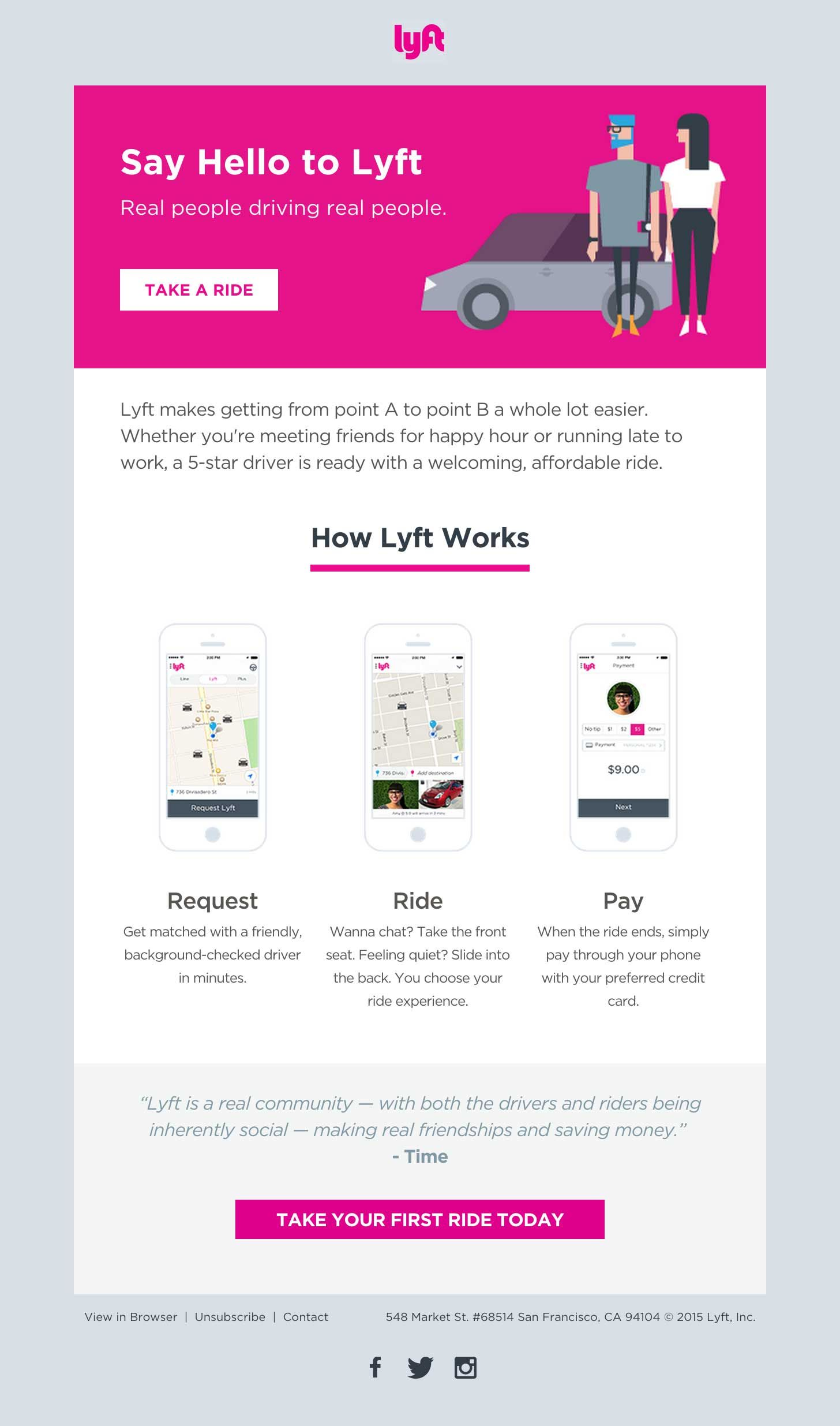 The Lyft Welcome Email Is Clean Minimal And Fun With A Nice Three