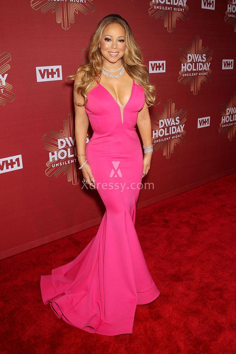 Fuchsia Mermaid Evening Prom Red Carpet Dress Mariah Carey 2016 ...