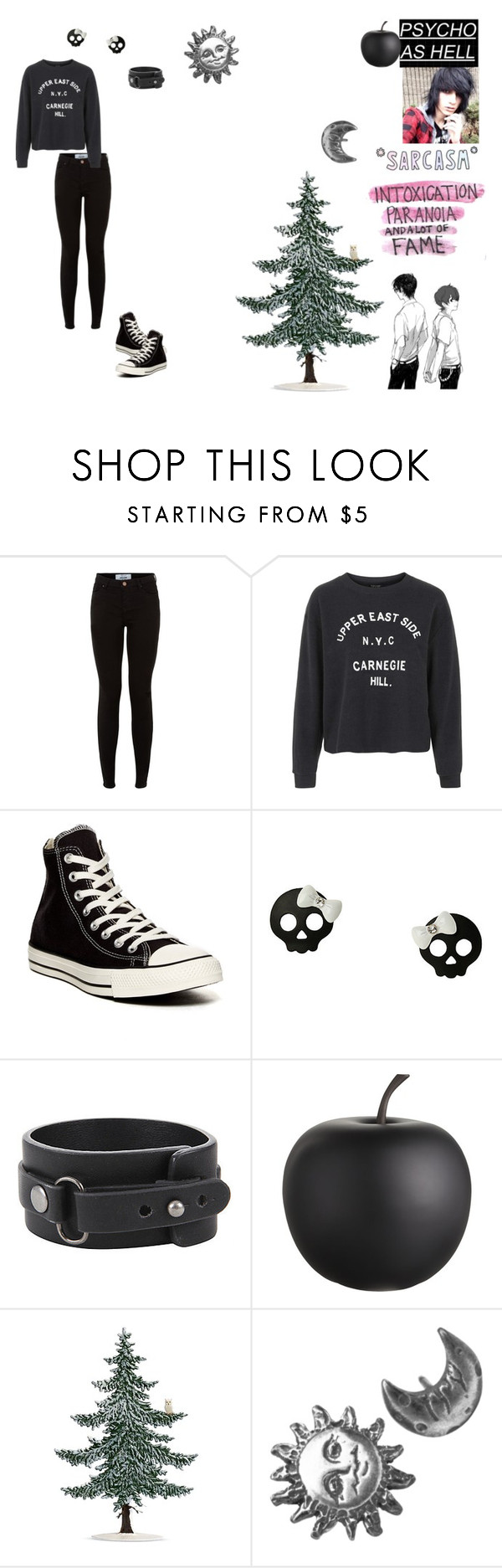 """Calling it a day~"" by caught-in-a-million-dreams ❤ liked on Polyvore featuring мода, Topshop, Converse, CB2 и Stefanie Sheehan Jewelry"