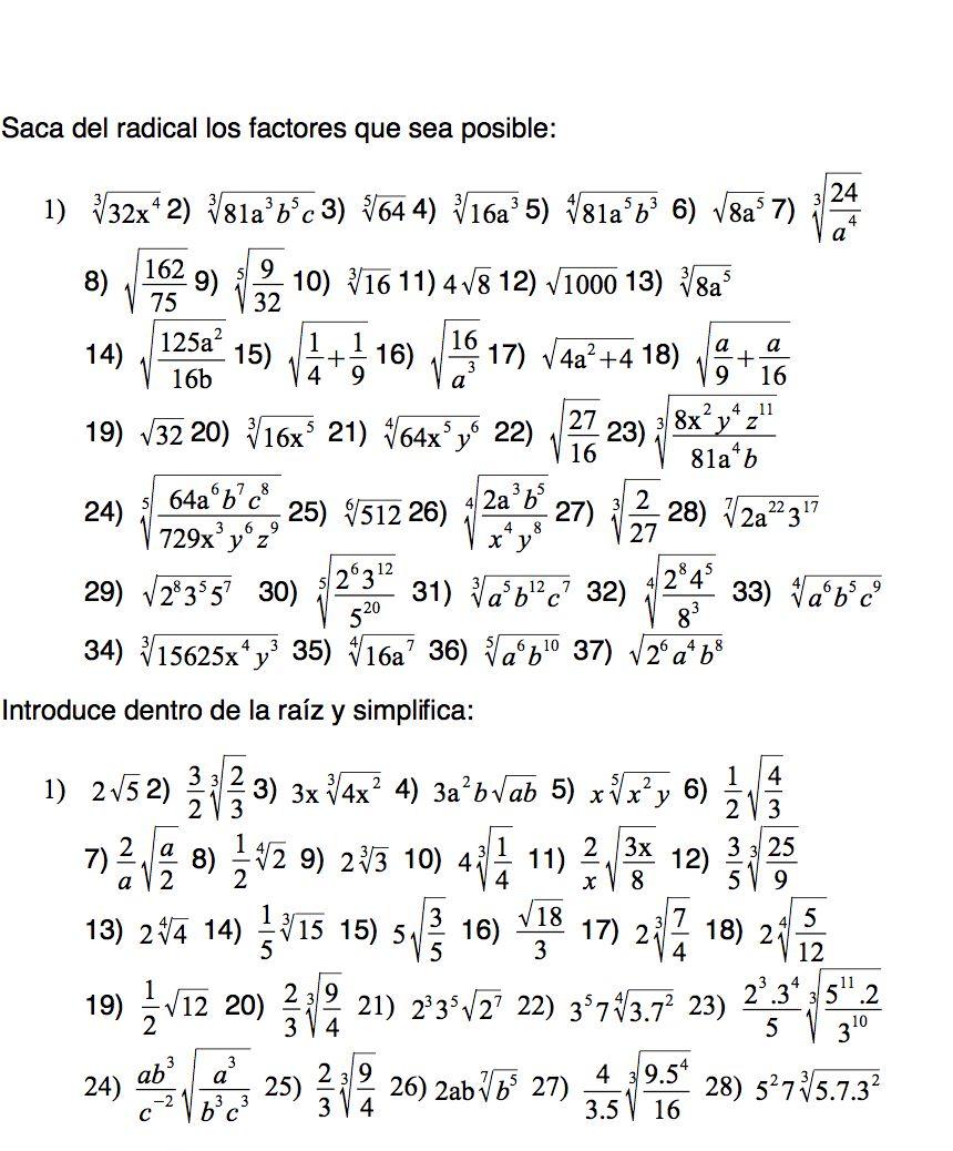 Ejercicios Propuestos De Radicales Del Tipo Sacar E Introducir Factores Dentro Del Radical Math Math Equations Equation