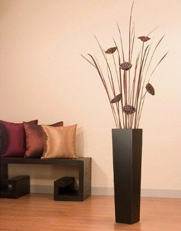 Large Decorative Urns With Lids Glamorous Green Floral Crafts Lotus Pods In Tall Black Floor Vase Decorating Design