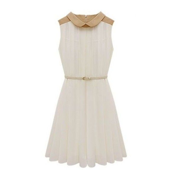 Apricot Sleeveless Belt Pleated Chiffon Dress ❤ liked on Polyvore featuring dresses, pleated chiffon dress, sleeveless dress, white sleeveless dress, white pleated dress and white chiffon dress