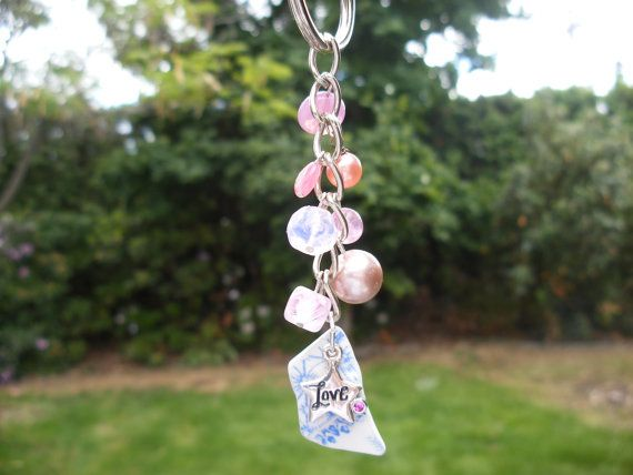 Scottish Sea Pottery Shard Keychain Bag Charm in Pink Blue and White with Love Charm New Driver