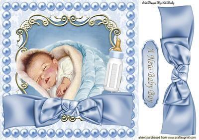 CUTE BABY BOY SLEEPING IN PEARL FRAME 8X8 on Craftsuprint - Add To Basket!