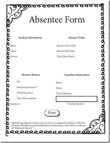 Free interactive class absence form This teacher also has a good - free medical form