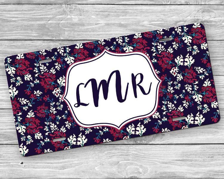 Custom License Plate and License Plate Frame Set Monogrammed Car Tag Gift Set Personalized Burgundy /& Navy License Plate and Frame Set