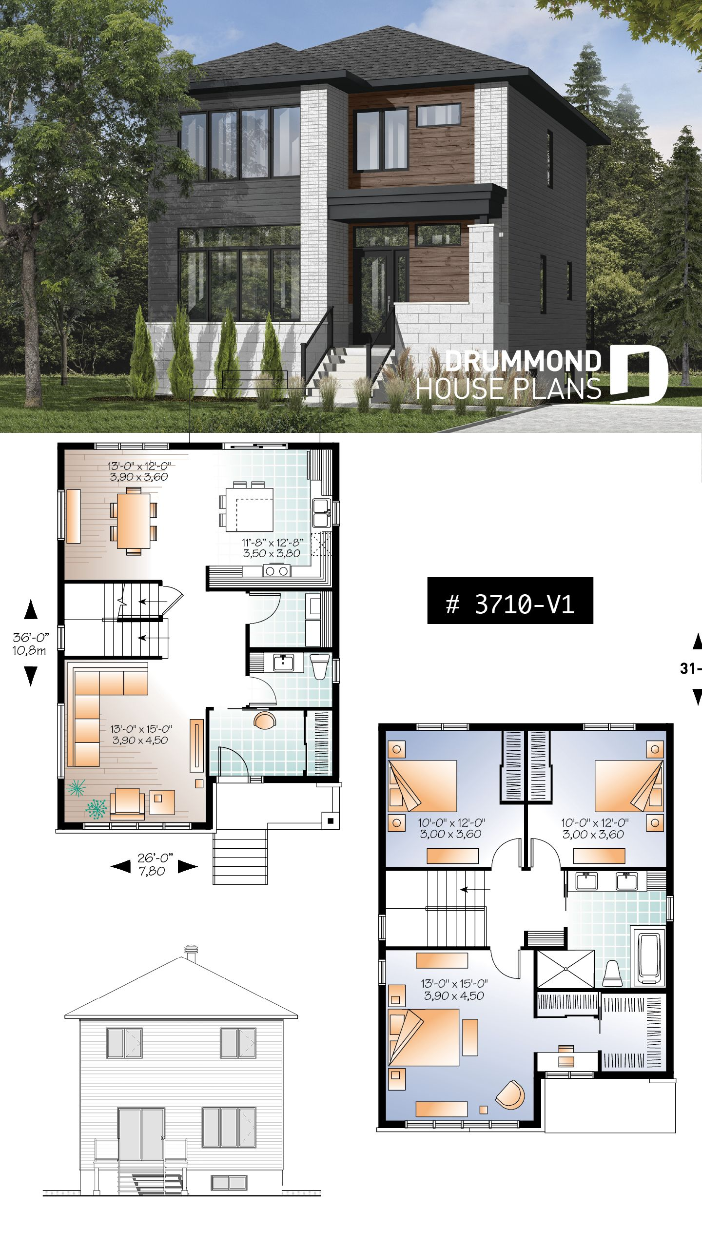 Discover The Plan 3710 V1 Collins 2 Which Will Please You For Its 3 Bedrooms And For Its Contemporary Styles Modern House Plans Sims House Plans Best Modern House Design