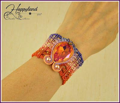 Micro macrame and soutache bracelet