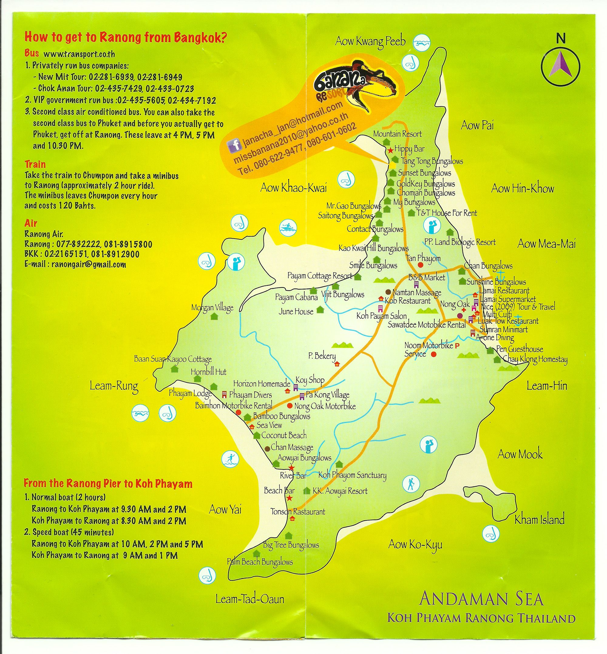 Vacation Ideas South East: Thailand. Neat Little Koh Phayam Map On A Banana Resort