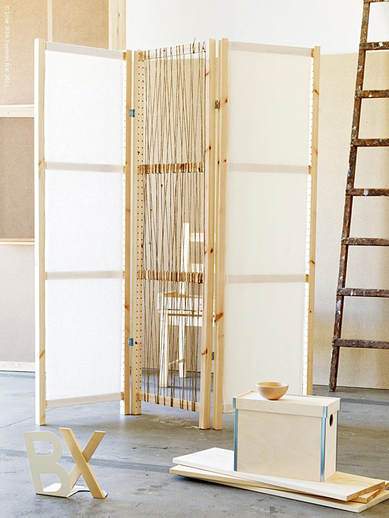 DIY Divider made with Ivar shelving components and Ditte