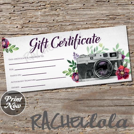 Printable Gift Voucher Template Red Floral Camera Printable Gift Certificate Template Spring .