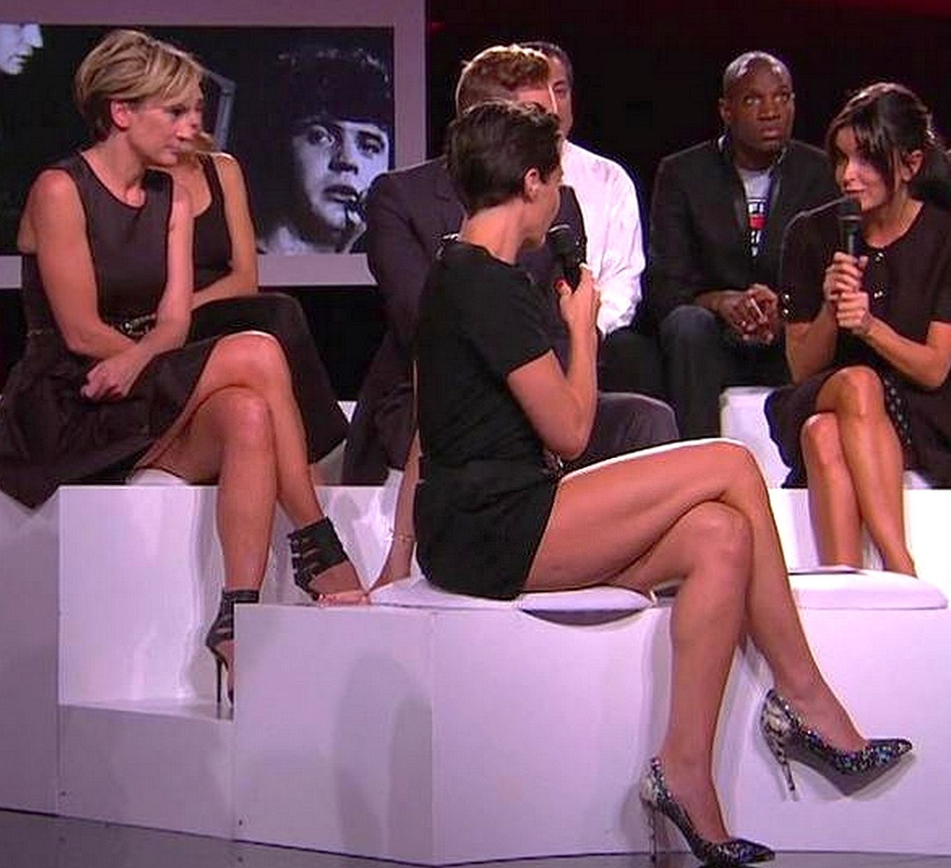 exibition on french tv, for a tribute to a singer, patricia kass and  alessandra sublet shows the tops of their thighs. Celebrities Tight Hot beab9646982c