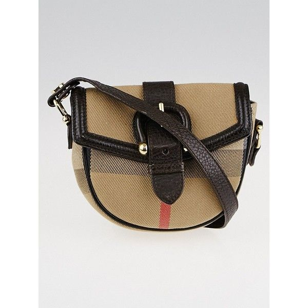 Pre-owned Burberry House Check Cotton Mini Crossbody Bag (1.445 RON) ❤ liked on Polyvore featuring bags, handbags, shoulder bags, mini purse, burberry crossbody, cross body travel purse, mini crossbody purse and crossbody purses
