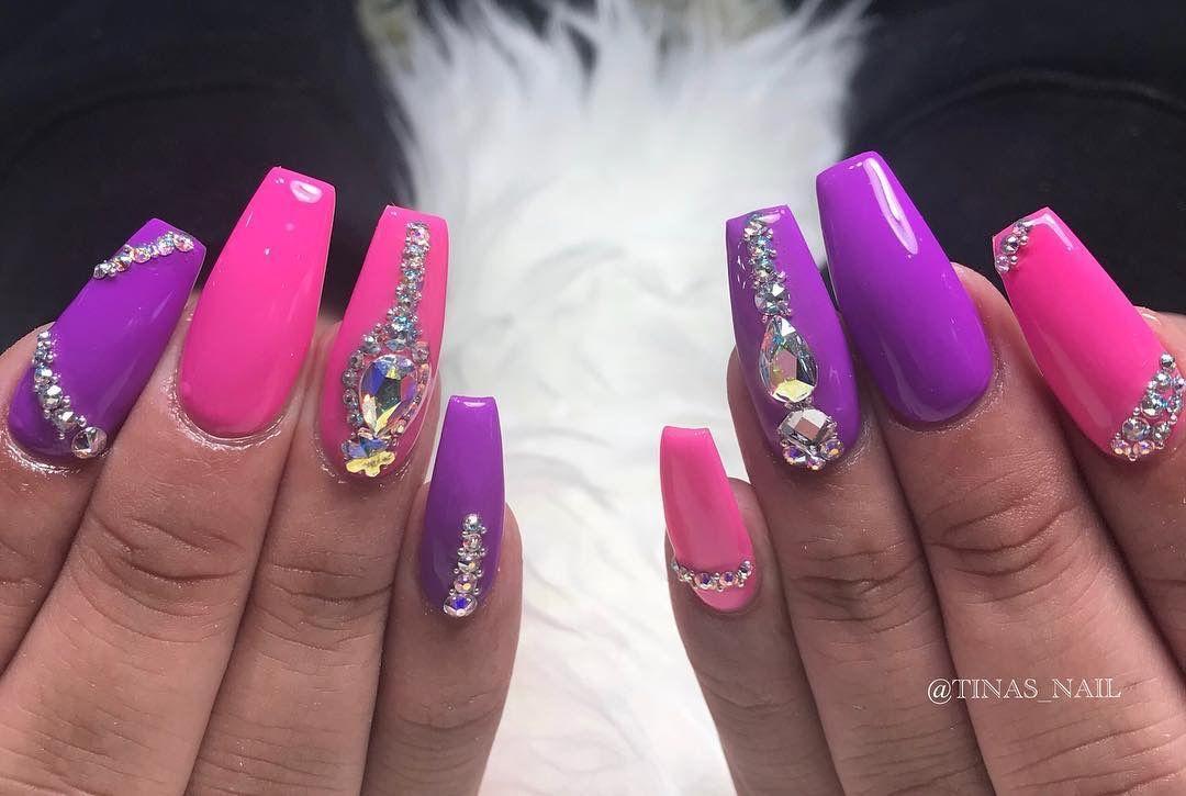 Pinterest Lolaxxlola Pink Purple Acrylic Nails With Swarovski Crystals Purple Acrylic Nails Acyrlic Nails Nails