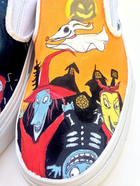 68de2036092d67 Custom Vans Hand Painted Shoes- Nightmare Before Christmas
