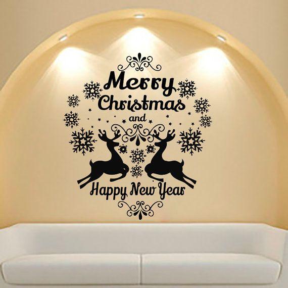 Merry Christmas Wall Decals Decal For Vinyl Sticker Deer Nursery Bedroom Home Decor Room Interior Design Art Murals MN810