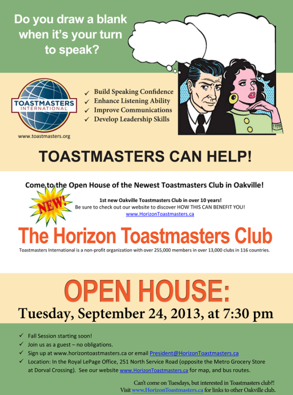 Open House Guests Welcome Horizon Toastmasters Club Of Oakville Open House Leadership Skills Improve Communication
